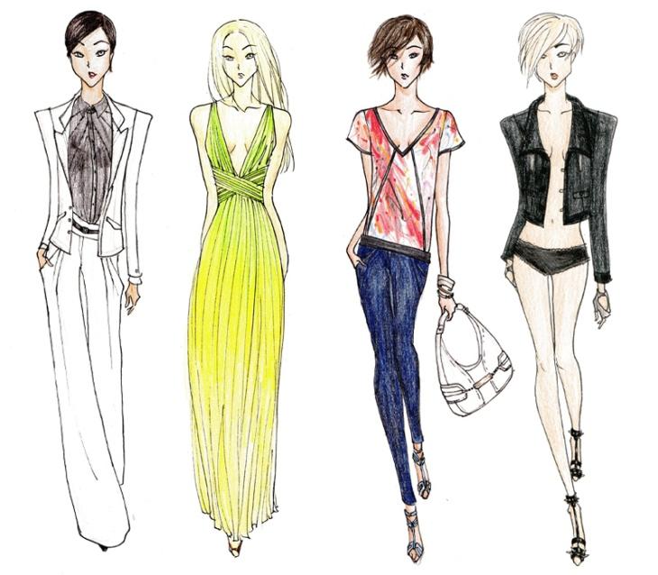 Quatre silhouettes de modes aux proportions exagérées et non réalistes
