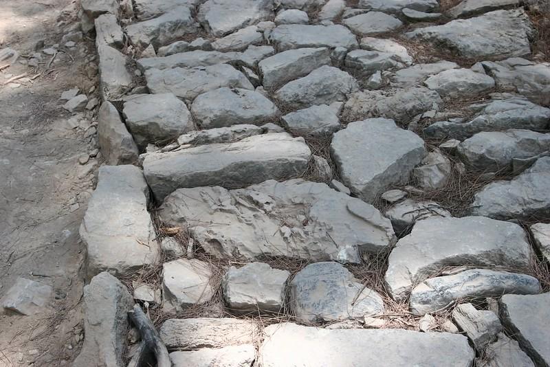 Plan rapproché de roches très inégales et irrégulières formant chaussée chaotique.